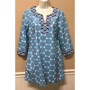 Boden Tunic Top Polka Dot Shirt 3/4 Sleeves